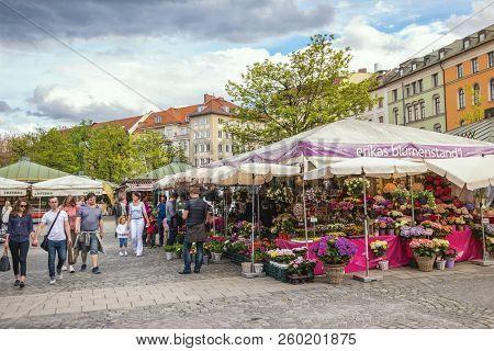 Munich, Germany - May 13, 2017: Munich Germany, Flowers Shop At Victuals Market (viktualienmarkt)