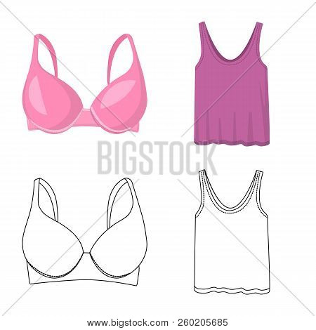 Vector Design Of Woman And Clothing Icon. Set Of Woman And Wear Stock Vector Illustration.