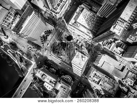 Aerial Straight Down Abstract Drone View Black And White From Above Downtown Skyline Cityscape Stree
