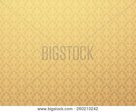 Gold Damask Wallpaper With Royal Floral Patterns