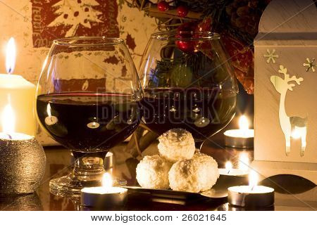Christmas gift, candles and red wine