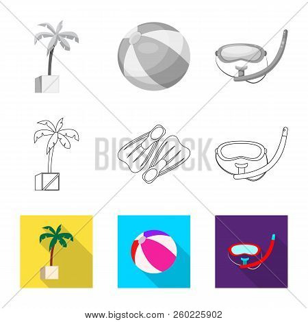 Vector Illustration Of Pool And Swimming Sign. Set Of Pool And Activity Stock Symbol For Web.
