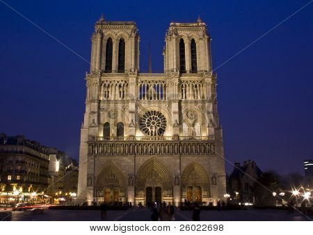 Notre Dame at night, Paris, France