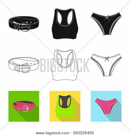 Vector Illustration Of Woman And Clothing Logo. Set Of Woman And Wear Vector Icon For Stock.