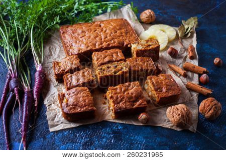 carrot cake with pineapple nuts and spices - sweet food