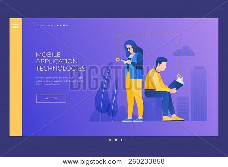 Young Man And Woman Reading Book And From Your Phone Screen. Concept Of Reading And Learning.  Self