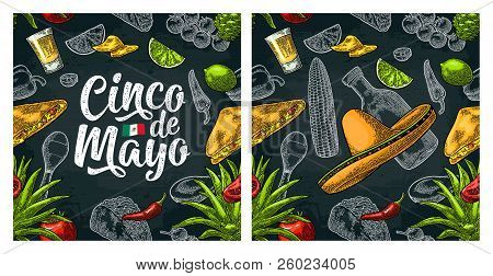 Seamless Pattern Mexican Food And Cinco De Mayo Handwriting Lettering.