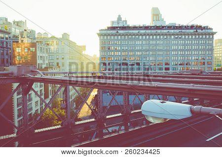 Vintage Color View Of Manhattan City Skyline At Sunrise, New York City, New York, Usa