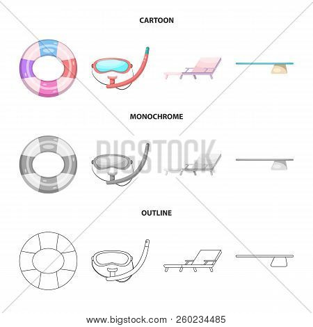 Isolated Object Of Pool And Swimming Icon. Set Of Pool And Activity Stock Vector Illustration.