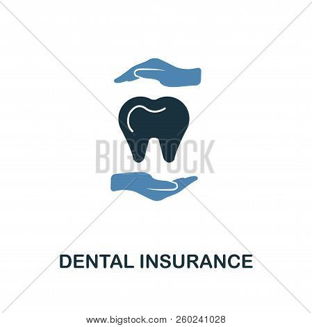 Dental Insurance Icon In Two Color Design. Line Style Icon From Insurance Icon Collection. Ui And Ux