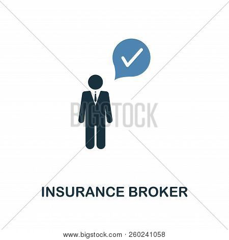 Insurance Broker Icon In Two Color Design. Line Style Icon From Insurance Icon Collection. Ui And Ux