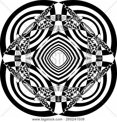 Abstract Arabesque Hypnotic Lens Formula Perspective Black On Transparent Background