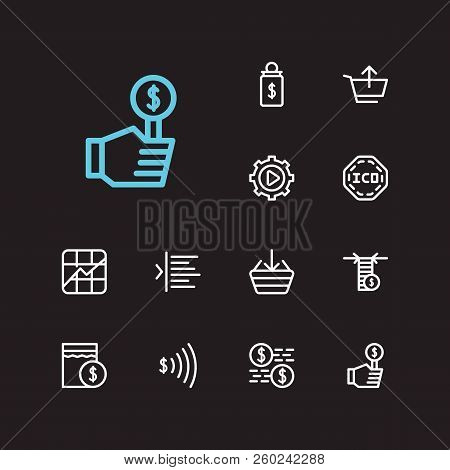 Finance Trading Icons Set. Stock Symbol And Finance Trading Icons With Sell, Limit Order And Bid. Se