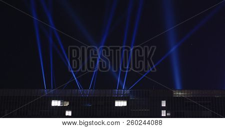 Light performace show at night