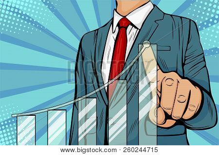 Businessman Pointing Arrow Graph Corporate Future Growth Plan. Business Concept Of Development To Su