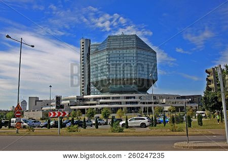 Minsk, Belarus - August 13, 2018: National Library Of Belarus  Is The Biggest Library In The Republi
