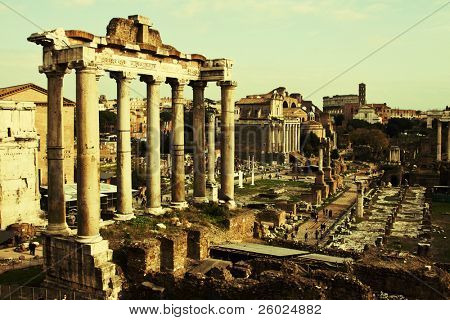 Vintage postcard with Foro Romano