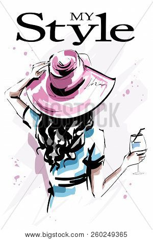 Hand Drawn Beautiful Young Woman In Hat. Stylish Elegant Girl Holding A Glass. Fashion Woman Back. S