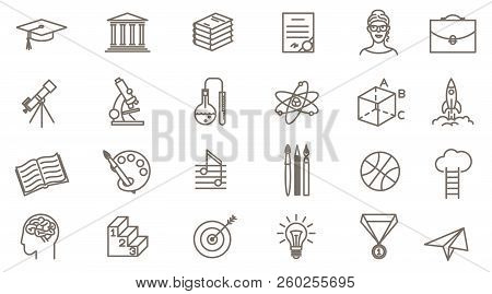 Thin Line Vector Online Education Icon Set. Flat Design School, Collage And University  Symbols Coll