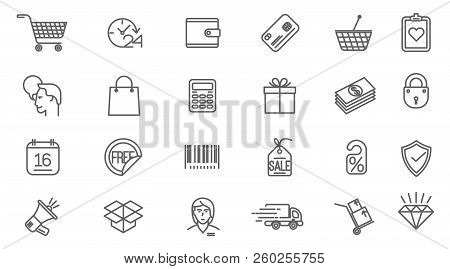 Thin Line Vector Online Store Sopping Icon Set. Flat Design Retail And Shopping Symbols Collection
