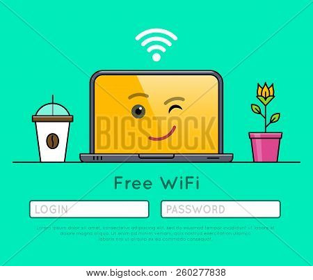 Internet Browser Interface Of Free Wifi Access On Laptop Thin Line Icon. Wireless Network Connection