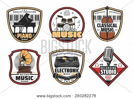 Musical Instrumentsvector Icons. Piano And Drums, Violin And Gramophone, Dj Panel With Vinyl Disc An