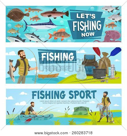 Fishing Hobby Sport And Fisherman. Fisher With Fish And Equipment, Rod With Bait And Inflatable Or W
