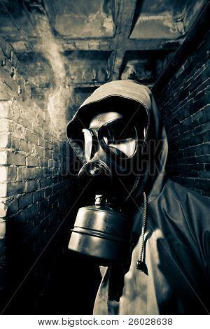 Man wearing respirator or gas mask
