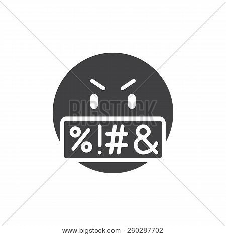 Swear face expression emoji vector icon. filled flat sign for mobile concept and web design. Swearing emoticon simple solid icon. Symbol, logo illustration. Pixel perfect vector graphics poster