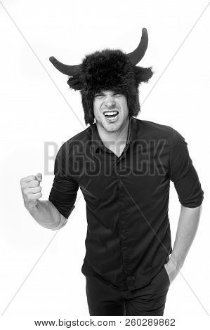Man Horns As Devil Or Bull Aggressive Threaten Violence Gonna Punch You. Aggressive Intimidating Ind