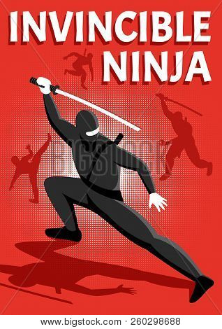 Invincible Ninja Warrior Isometric Shiny Red Background Poster With Popular Online  Action Packed Ga