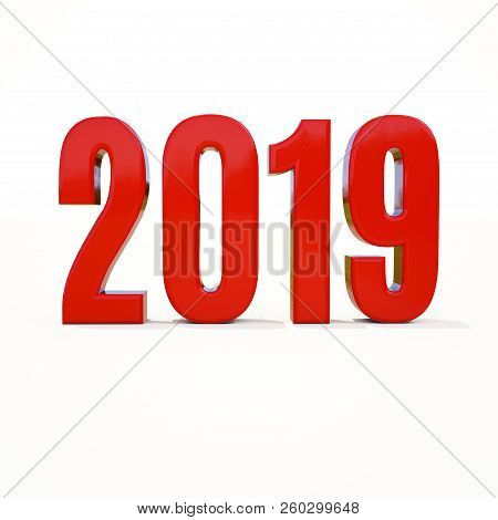Red 2019 On White Background, New Year 2019, 3d Illustration, Happy New Year 2019, Red 3d Numbers, N