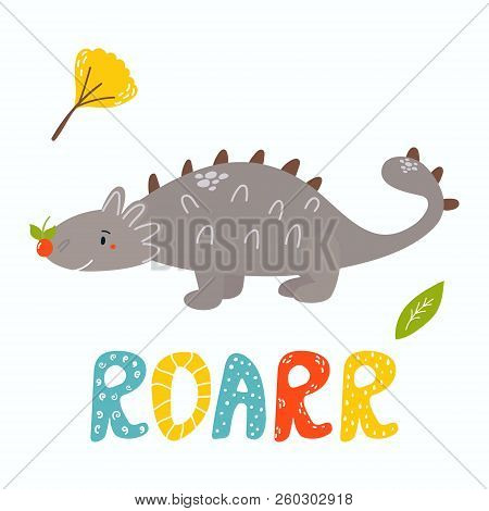 Cute Hand Drawn Ankylosaurus Dino. Roarr Greeting Card. Suitable Also For Prints