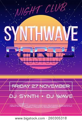 Invitation Flyer Or Banner Or Poster On Retro Synth Wave 80s Party With Electro Sun Or Moon On Night