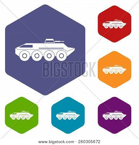Armored Personnel Carrier Icons Set Rhombus In Different Colors Isolated On White Background