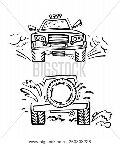 Hand Drawn Offroad 4x4 Car In Creative Doodle Style. Off-road Adventure Element In Black Color Usefu
