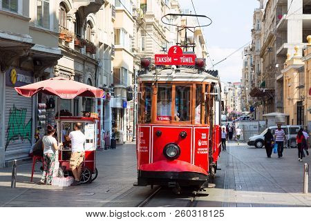 Istanbul, Turkey - August, 2018: Retro Tram On Istiklal Street. Red Tram Taksim-tunel