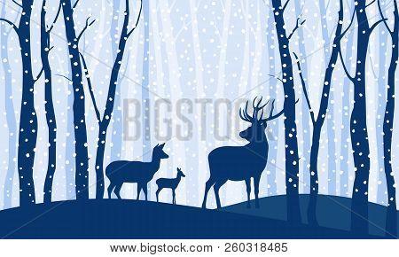 Silhouettes Of Deer. Family Of Three Deer Among Trees And Hills In Winter Forest On Light Background