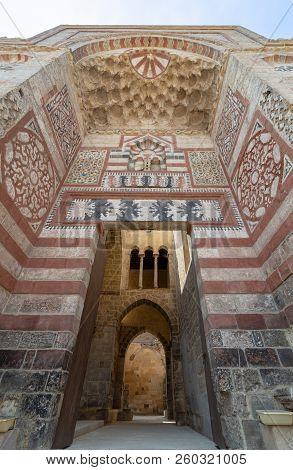 Exterior View Of Entrance Of Al-muayyad Bimaristan Historic Building, Darb Al Labana District, Old C