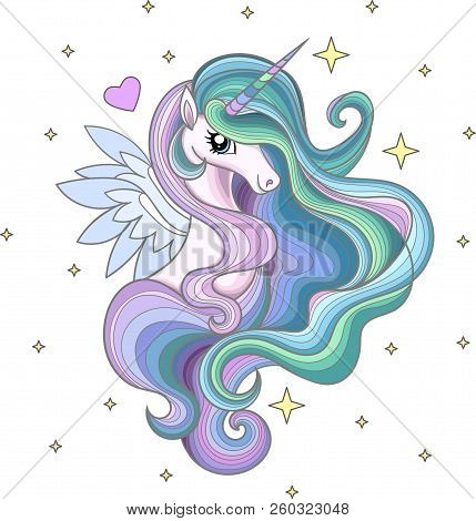 A Beautiful Rainbow Unicorn With A Long Mane Among The Stars. For The Design Printov.yu T-shirts And