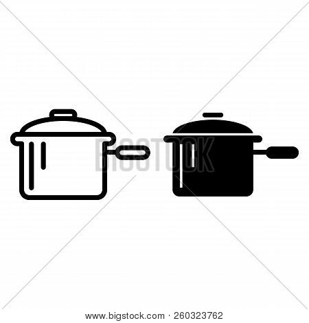 Casserole With A Handle Line And Glyph Icon. Pan Vector Illustration Isolated On White. Pot Outline