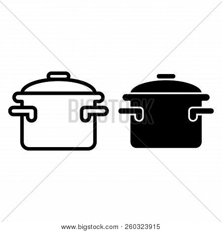 Casserole With Handles Line And Glyph Icon. Cooking Pan Vector Illustration Isolated On White. Pot O