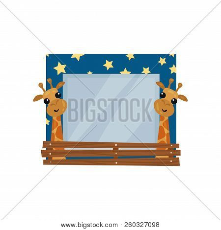 Cute Photo Frame With Giraffes, Album Template For Kids With Space For Photo Or Text, Card, Picture