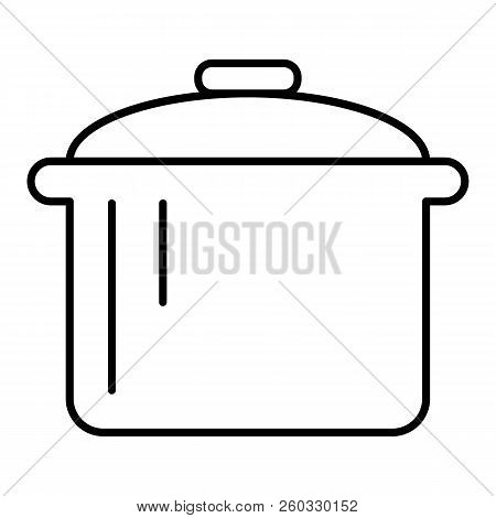 Pot Thin Line Icon. Saucepan Vector Illustration Isolated On White. Casserole Outline Style Design,
