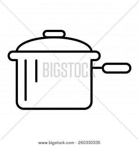 Casserole With A Handle Thin Line Icon. Pan Vector Illustration Isolated On White. Pot Outline Style