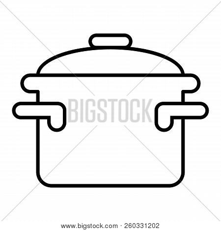 Casserole With Handles Thin Line Icon. Cooking Pan Vector Illustration Isolated On White. Pot Outlin