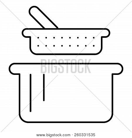 Sieve And Pan Thin Line Icon. Colander And Casserole Vector Illustration Isolated On White. Kitchenw