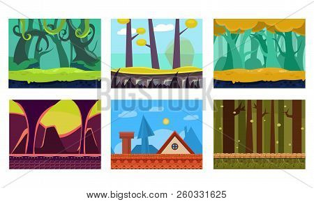 Flat Vector Set Of 6 Scenes For Mobile Game. Cartoon Backgrounds With Green Jungles, House Roof, Fan
