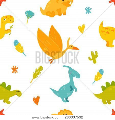 Bright Seamless Pattern With Cute Dinosaurs Of Different Species. Iguanodon, Stegosaurus, Triceratop