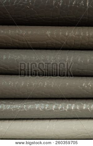 Catalog of multicolored imitation leather from matting fabric texture background, leatherette fabric texture, textile industry background with blurred, Colored cotton fabric, imitation leather catalog poster